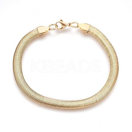 Vacuum Plating 304 Stainless Steel Herringbone Chain BraceletsBJEW-P235-20G-1