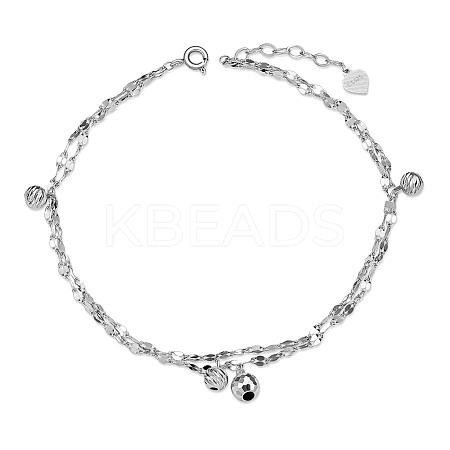 SHEGRACE® 925 Sterling Silver Multi-Strand AnkletJA109A-1