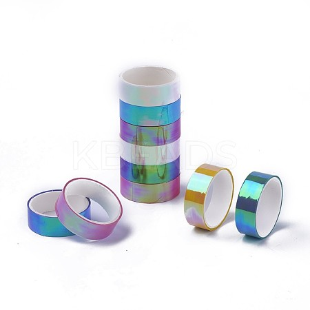 Laser Shining PET Plastic Scrapbook Decorative Adhesive TapesDIY-F025-H-1