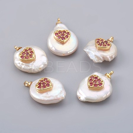 Natural Pearl Pendants PEAR-F008-23G-04-1