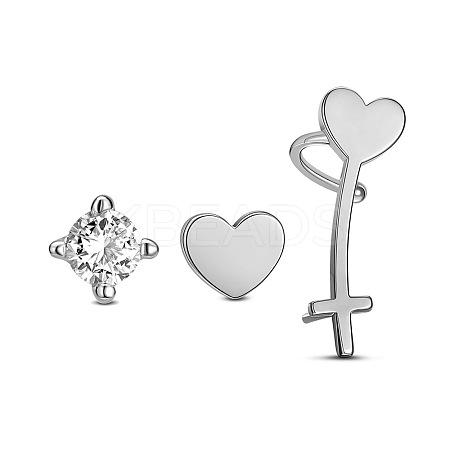 SHEGRACE® Trendy 925 Sterling Silver Hearts Stud EarringsJE264A-1