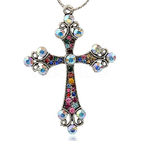 Alloy Rhinestone Big Pendants RB-J112-37AS-1