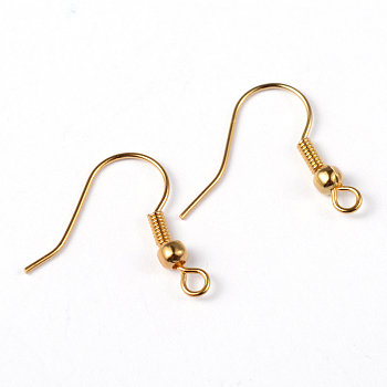 Brass Earring Hooks, Ear Wire, with Beads, Golden, 19mm, Hole: 1.5mm; Pin: 0.7mm