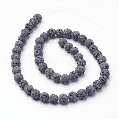 Unwaxed Natural Lava Bead Strands G-F309-8mm-1