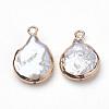 Electroplate Natural Baroque Pearl Keshi Pearl PendantsPEAR-Q008-08G-2