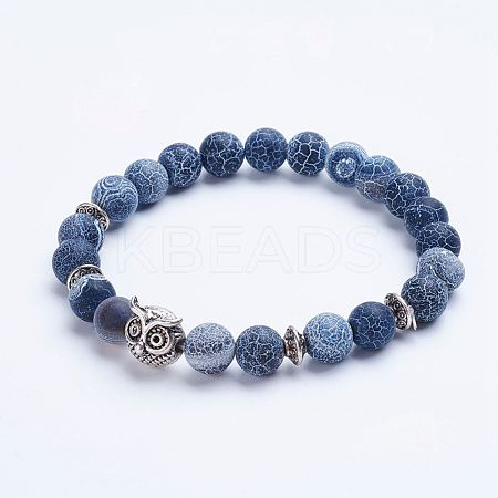 Natural Weathered Agate Beaded Stretch Bracelets X-BJEW-P072-K01-1