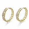 Brass Micro Pave Clear Cubic Zirconia Huggie Hoop Earrings EJEW-S201-207G-NF-1