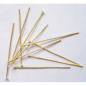 Iron Flat Head Pins, Cadmium Free & Lead Free, Golden, 35x0.7mm; about 7000pcs/1000g