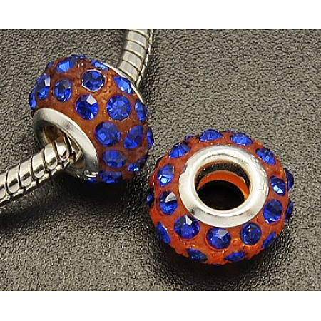 Glass Rhinestone European Beads MPDL-14D-4-1