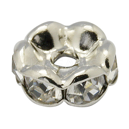Brass Clear Rhinestone Beads RB-A014-L17mm-01P-NF-1