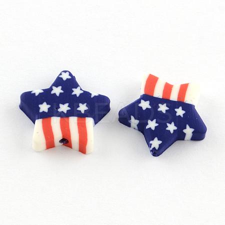 Star Handmade Polymer Clay BeadsX-CLAY-Q222-10-1