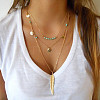 Metal Brass Feather and Turquoise Beads Three Tiered Necklaces NJEW-N0052-012A-1