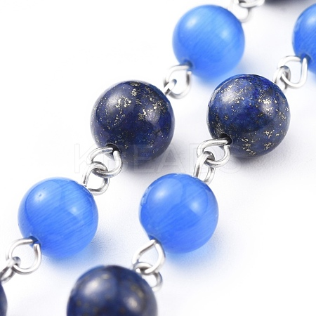 Handmade Natural Lapis Lazuli Beaded Chains AJEW-JB00509-02-1