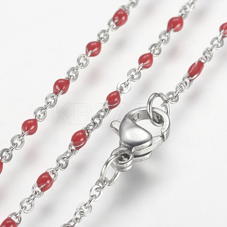304 Stainless Steel Chain Necklaces NJEW-K099-01A-1