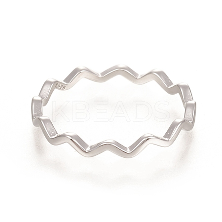 925 Sterling Silver Wavy RingsSTER-D033-03C-P-1