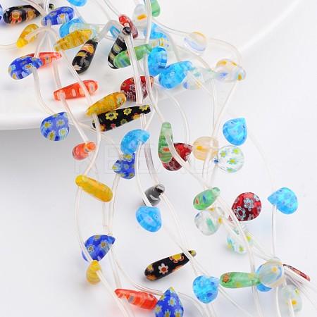 Drop Handmade Millefiori Glass Beads StrandsLAMP-F004-13-1