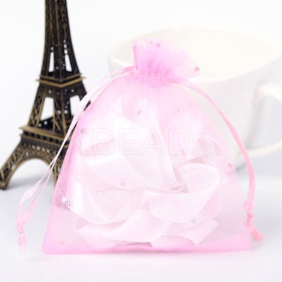 Rectangle Organza Bags with Glitter Sequins X-OP-R020-10x12-08-1