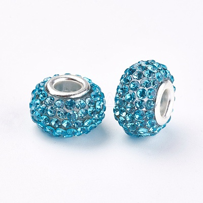 Rondelle Resin Grade A Rhinestone European Beads DIY Findings X-CPDL-H001-8-1