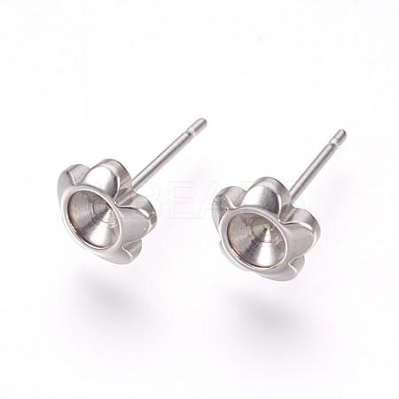 304 Stainless Steel Post Stud Earring SettingsSTAS-I097-008P-1